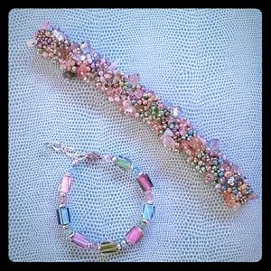 Jewelry - Lot of 2 Iridescent Pastel Beaded Bracelets